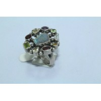 925 Sterling silver Women's ring,with multi semi precious gem stones Size 20