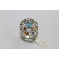 Stamped 925 Sterling Silver Ring with Blue Topaz Garnet Amethyst Peridot Stone