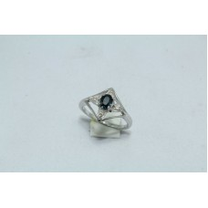 925 Sterling silver ring Natural Blue Sapphire & Diamonds Ring Size No. 13