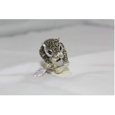 925 Sterling silver Women's Cougar Ring with Marcasites & Black Onyx Stone No. 12