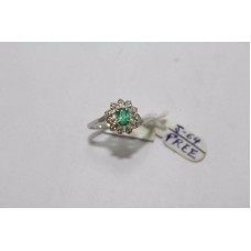 Hallmarked 925 Sterling Silver Ring Real Green Emerald & Diamonds Size 13