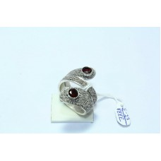 925 Sterling silver Ring Size 18 Oxidised Polish Textured metal garnet stone