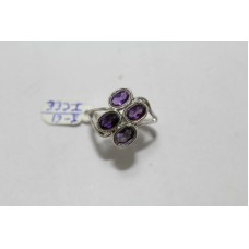 925 Hallmarked Sterling silver Real Purple Amethyst Gemstone Ring Size No. 14
