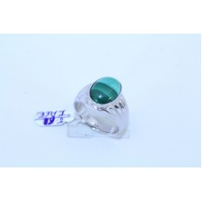 92.5 Hallmarked Sterling Silver Men's Ring, Natural malachite Stone Ring size 20