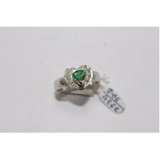 Hallmarked 925 Sterling Silver Ring with Real Green Emerald & Diamonds Size 14