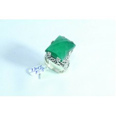 925 Sterling silver Green onyx Stone Ring Size 16 Oxidized Polish