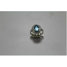 925 Sterling silver ring,Real Natural Blue Topaz Stone Ring Size 13