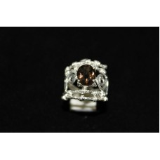 925 Sterling silver Women's ring, Filigree Work, Real Smoky Topaz, Ring Size 15