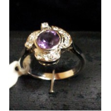 925 Sterling silver ring, Real Amethyst Stone, Zircons, Women's Ring Size No. 16