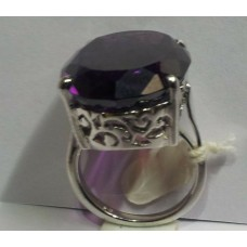 92.5 Stamped Sterling Silver Ring, Synthetic Alexandrite Oval Stone size no. 18