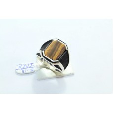 925 STERLING SILVER Men's RING Tiger's eye stone OXIDISED POLISH 19