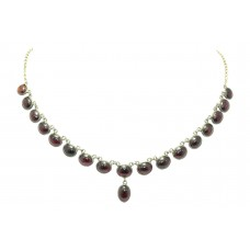 Handmade Designer 925 Sterling Silver Natural Red Garnet Gemstone Necklace