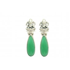 Women Tribal Temple 925 Sterling Silver God Ganesha Earring Green Onyx Gem Stone