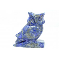 Natural blue Lapiz lazuli gem stone Owl Bird Figure Home Decorative Gift Item