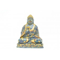 Blue Lapiz lazuli natural Stone blessing God Buddha statue Painted Decorative