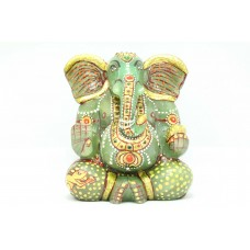 Handmade Light Green natural Jade Stone God Ganesha Idol statue Home Decorative