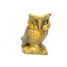 Natural brown tiger eye's gemstone Owl Bird Figure Home Decorative Gift Item.