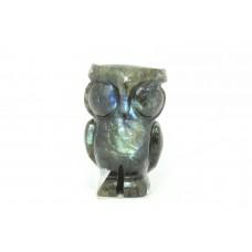 Handmade Natural grey Labradorite gemstone Owl Bird Figure Home Decorative Gift