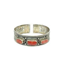 925 Sterling Silver Tribal jewelry Bangle Cuff Red Coral Stones filigree work
