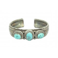 925 Sterling Silver Women's Bangle Cuff Blue Turquoise Stone 71.6 Gr
