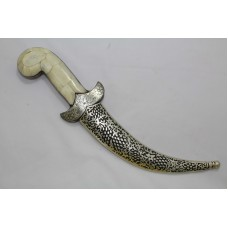 Dagger Knife Damascus Steel Blade Silver Wire Engraved Work Camel bone Handle.