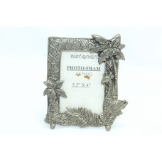Handcrafted engraved design white metal photo frame decorative home