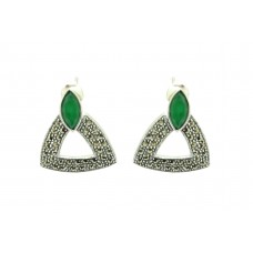 Women's 925 Sterling Silver Studs Earrings marcasite green onyx stone 1.0'
