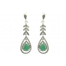 Women's 925 Sterling Silver dangle long Earrings marcasite green onyx stone 2.5'