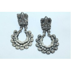 Antique Old Silver Indian Tribal Temple Jewelry Earrings God Ganesha