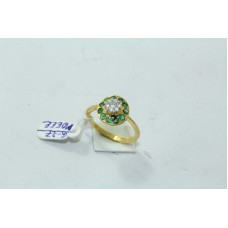 18Kt Yellow Gold Ring Natural Emerald Stones Diamond Pressure setting Size 13