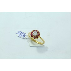 18Kt Yellow Gold Ring Natural Ruby Stones Diamond Pressure setting Size13