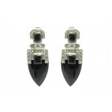 Women's 925 Sterling Silver dangle Earrings marcasite black onyx gem stone 1.8'