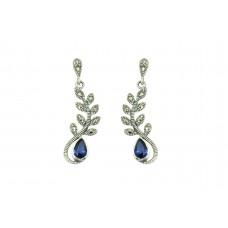 Women's 925 Sterling Silver dangle Earrings marcasite Blue stone 1.5'