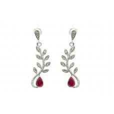 Women's 925 Sterling Silver dangle Earrings marcasite Red onyx stone 1.5'
