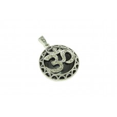 Handcrafted Stamped 925 Sterling Silver OM Pendant marcasite black onyx stones