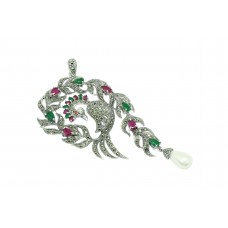 Designer 925 Sterling silver Pendant Marcasite red green onyx stone peacock bird