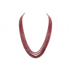Red Ruby faceted treated Beads Stones NECKLACE 5 lines 505 Carats