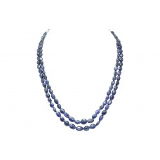 Blue Sapphire Oval Beads treated Stones NECKLACE 2 lines 280 Carats