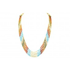 Fashion Multi Color 5 line string zircon stones beads necklace