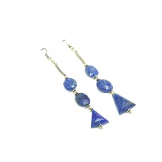 925 Sterling Silver dangle Earring natural blue lapiz lazuli Stones