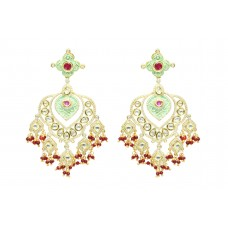 Designer wedding jewelry Earring Gold Plated uncut white Stones Red beads 3.6'