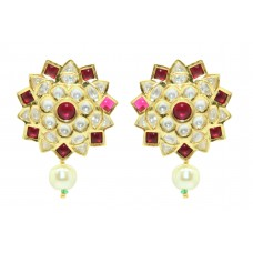 Designer wedding jewelry Earring studs Gold Plated uncut white Red Stone 1.7'