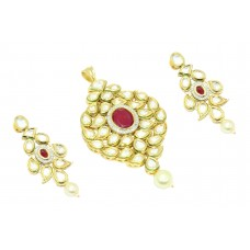 Fashion white Crystal Polki red stone wedding Pendant earring Gold Plated
