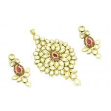 Fashion white Crystal Polki red stone bridal jewelry Pendant earring Gold Plated