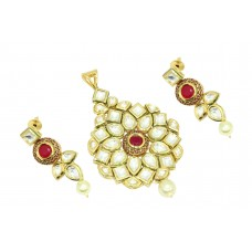 Fashion white Crystal Polki Red stone traditional Pendant earring Gold Plated