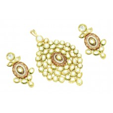 Fashion white Crystal Polki stone wedding jewelry Pendant earring Gold Plated