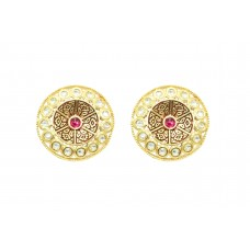 Designer wedding jewelry Round Earring studs Gold Plated uncut white Red Stone