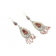 Handmade Women 925 Sterling Silver Earrings Natural Carnelian Stone