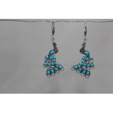 925 sterling silver earrings Marcasite and Turquoise Gemstones Peacock Design