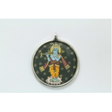 Antique Tribal Temple Jewelry 925 Sterling Silver God Krishna Painting Pendant..